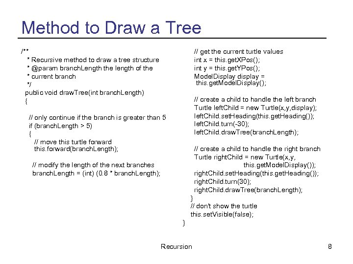 Method to Draw a Tree /** * Recursive method to draw a tree structure