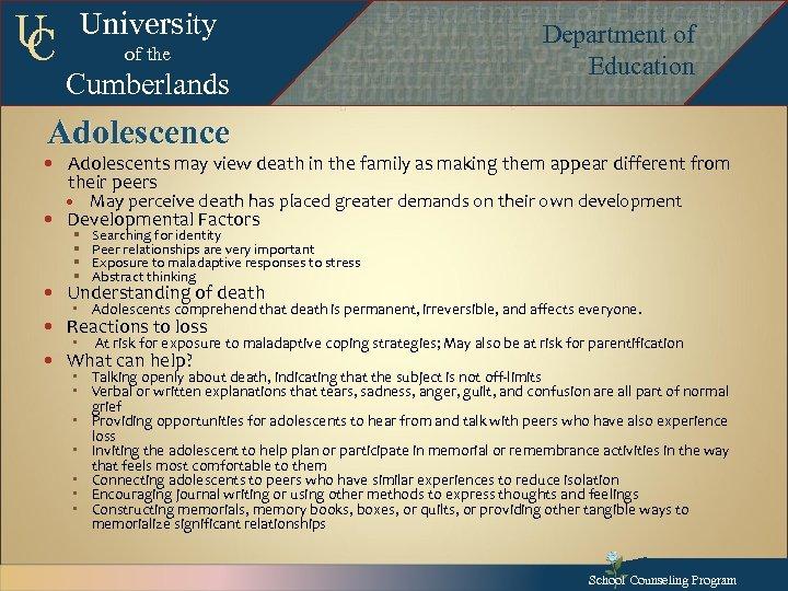 U C University of the Cumberlands Adolescence Department of Education Department of Education Departmentof