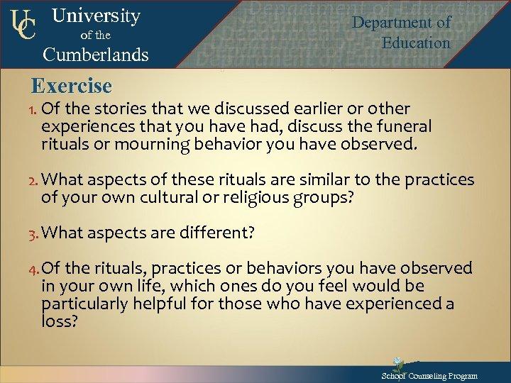 U C University of the Cumberlands Exercise Department of Education Department of Education Departmentof