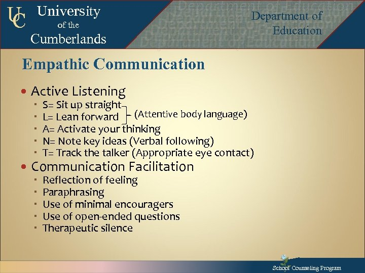 U C University of the Cumberlands Department of Education Department of Education Departmentof Education