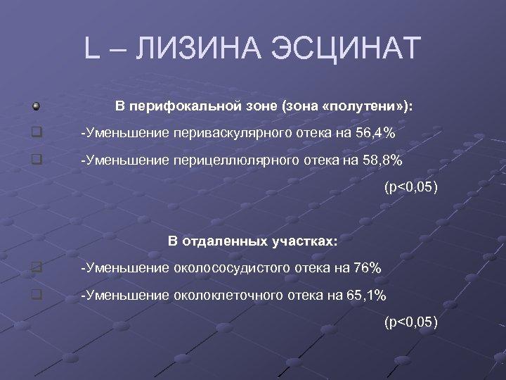 L – ЛИЗИНА ЭСЦИНАТ В перифокальной зоне (зона «полутени» ): q -Уменьшение периваскулярного отека