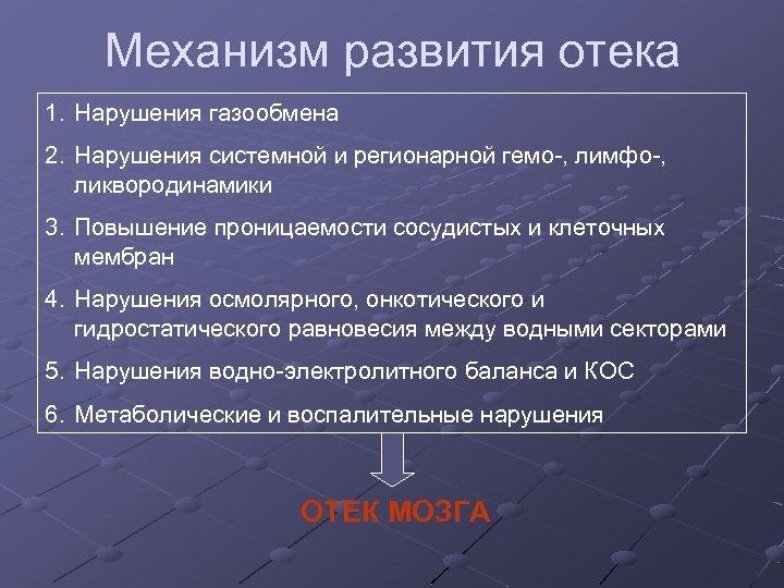 Механизм развития отека 1. Нарушения газообмена 2. Нарушения системной и регионарной гемо-, лимфо-, ликвородинамики