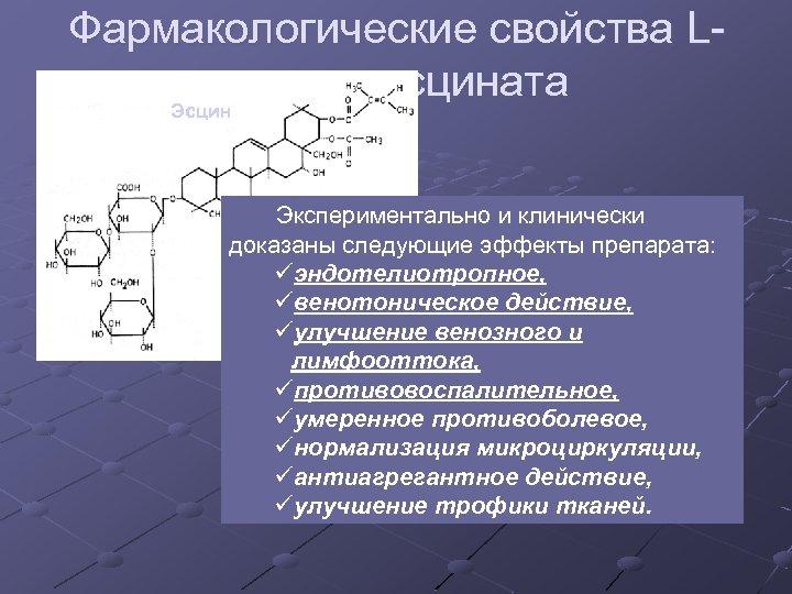 Фармакологические свойства Lлизина эсцината Эсцин Экспериментально и клинически доказаны следующие эффекты препарата: üэндотелиотропное, üвенотоническое