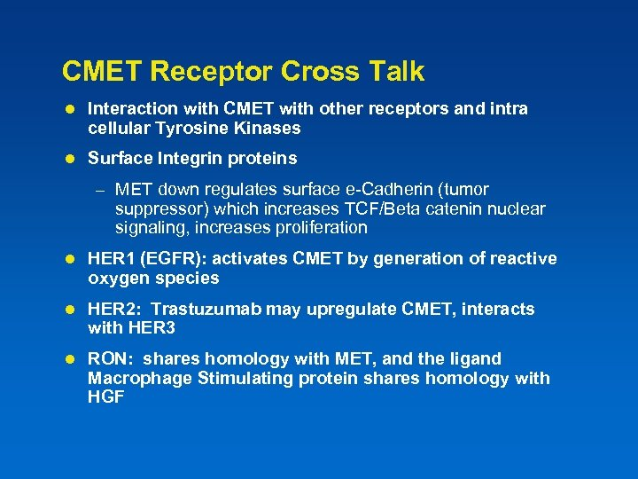 CMET Receptor Cross Talk l Interaction with CMET with other receptors and intra cellular