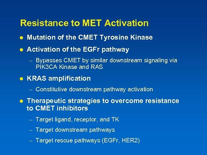 Resistance to MET Activation l Mutation of the CMET Tyrosine Kinase l Activation of