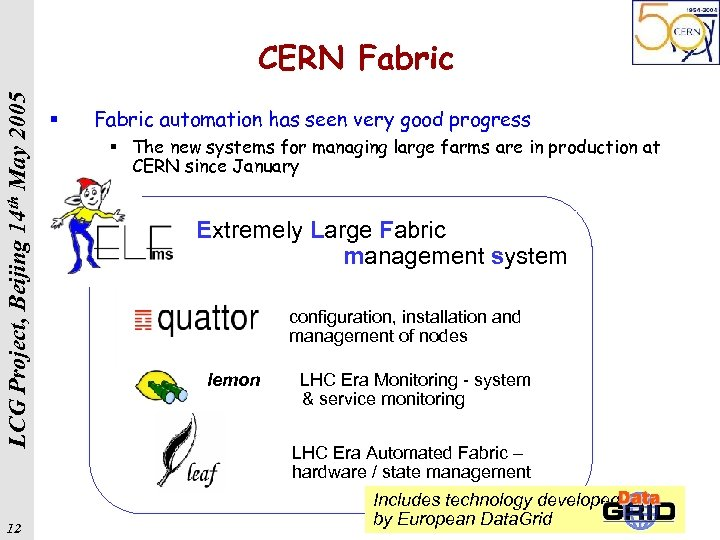 LCG Project, Beijing 14 th May 2005 CERN Fabric 12 § Fabric automation has