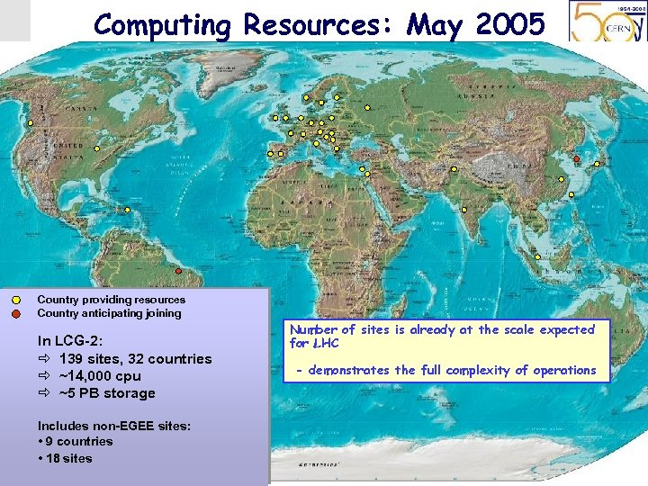 LCG Project, Beijing 14 th May 2005 Computing Resources: May 2005 Country providing resources