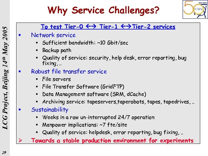 LCG Project, Beijing 14 th May 2005 Why Service Challenges? § § Sufficient bandwidth:
