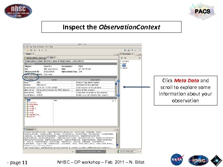 PACS Inspect the Observation. Context Click Meta Data and scroll to explore some information