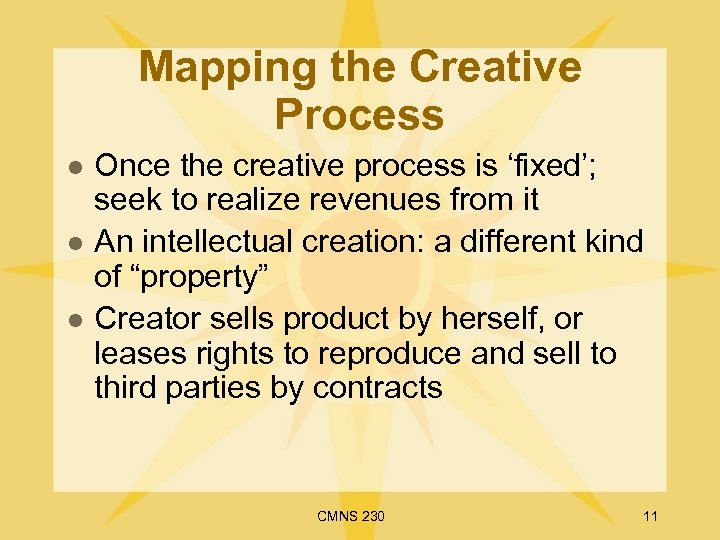 Mapping the Creative Process l l l Once the creative process is 'fixed'; seek
