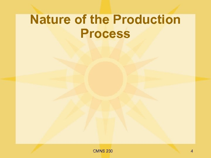Nature of the Production Process CMNS 230 4