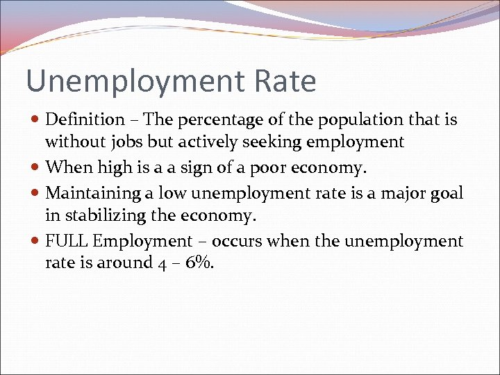 Unemployment Rate Definition – The percentage of the population that is without jobs but