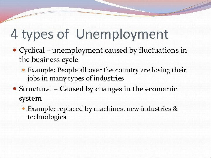 4 types of Unemployment Cyclical – unemployment caused by fluctuations in the business cycle