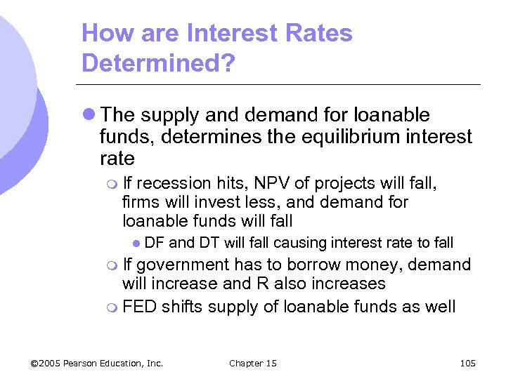 How are Interest Rates Determined? l The supply and demand for loanable funds, determines