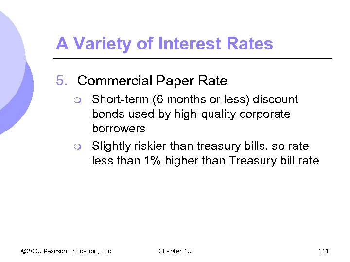 A Variety of Interest Rates 5. Commercial Paper Rate m m Short-term (6 months