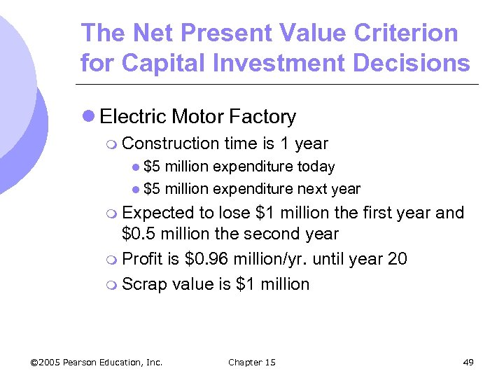 The Net Present Value Criterion for Capital Investment Decisions l Electric Motor Factory m