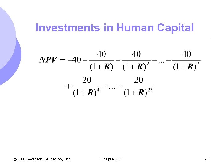 Investments in Human Capital © 2005 Pearson Education, Inc. Chapter 15 75