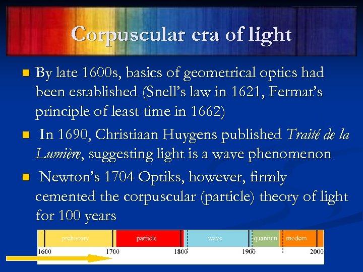 Corpuscular era of light By late 1600 s, basics of geometrical optics had been