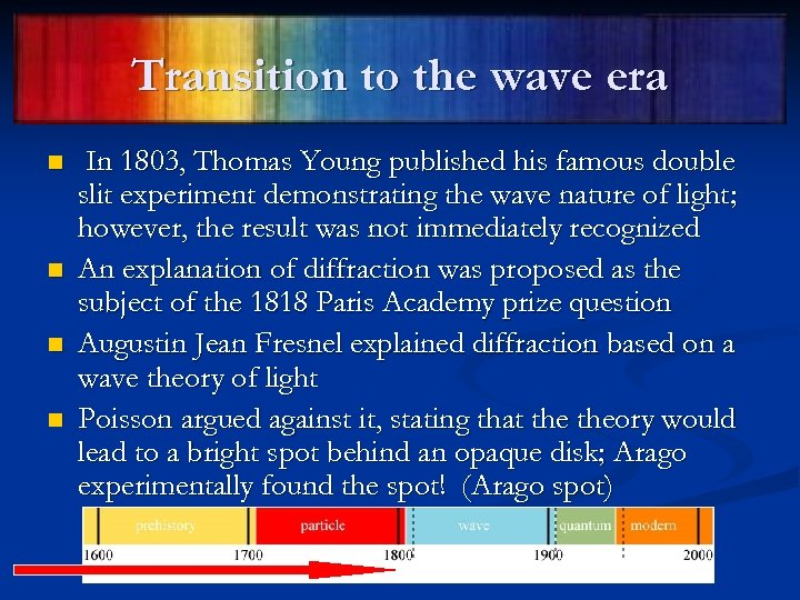 Transition to the wave era n n In 1803, Thomas Young published his famous