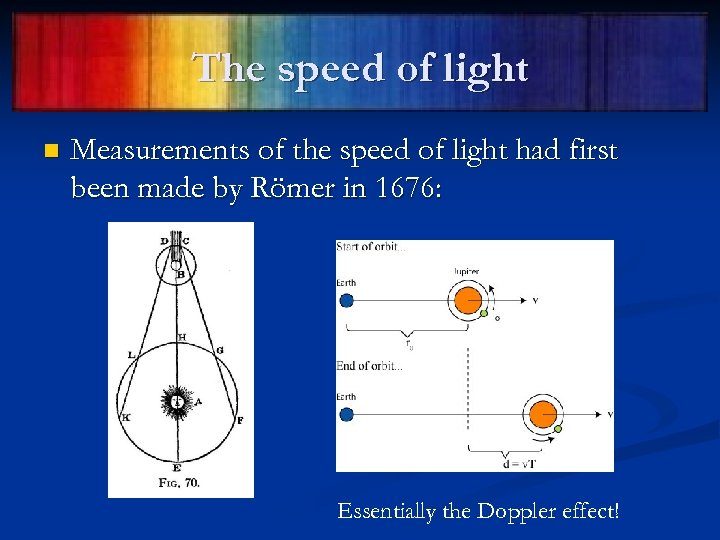 The speed of light n Measurements of the speed of light had first been