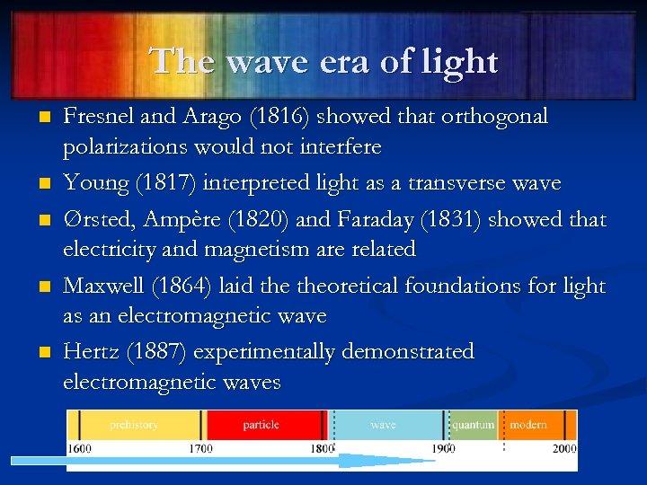 The wave era of light n n n Fresnel and Arago (1816) showed that