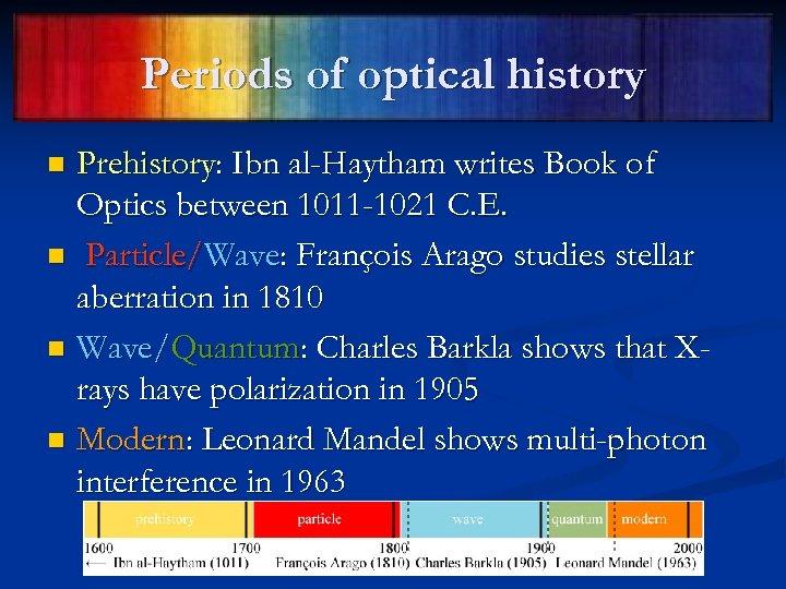 Periods of optical history Prehistory: Ibn al-Haytham writes Book of Optics between 1011 -1021