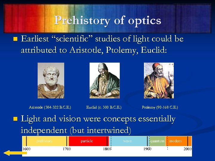 """Prehistory of optics n Earliest """"scientific"""" studies of light could be attributed to Aristotle,"""