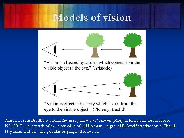Models of vision Adapted from Bradley Steffens, Ibn al-Haytham, First Scientist (Morgan Reynolds, Greensboro,