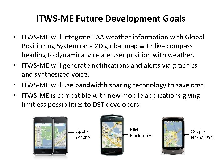 ITWS-ME Future Development Goals • ITWS-ME will integrate FAA weather information with Global Positioning