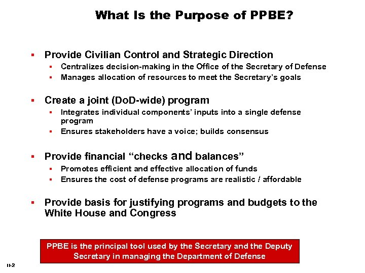 What Is the Purpose of PPBE? Provide Civilian Control and Strategic Direction Create a