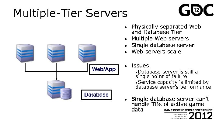 Multiple-Tier Servers ● Physically separated Web and Database Tier Multiple Web servers Single database