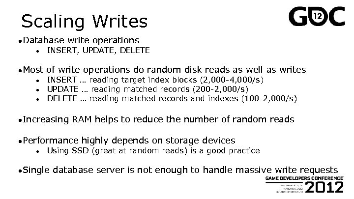 Scaling Writes ●Database ● ●Most ● ● ● write operations INSERT, UPDATE, DELETE of