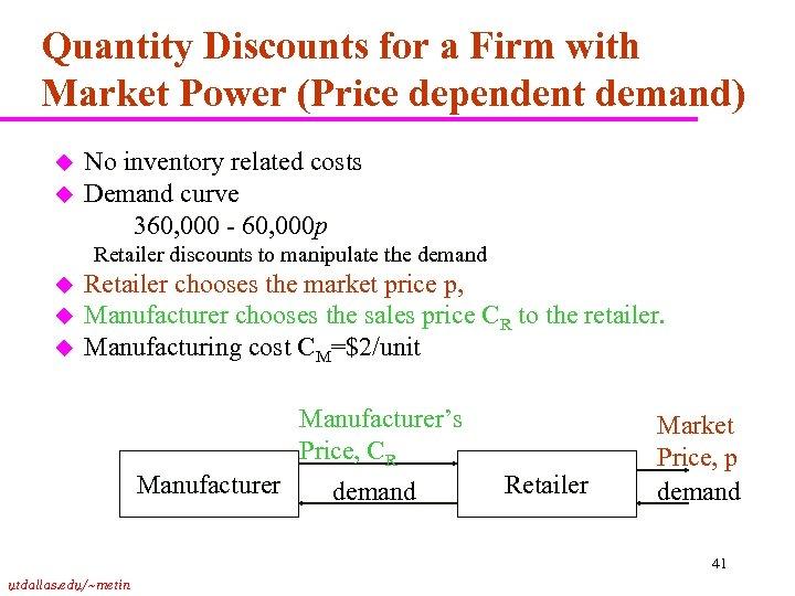 Quantity Discounts for a Firm with Market Power (Price dependent demand) u u No