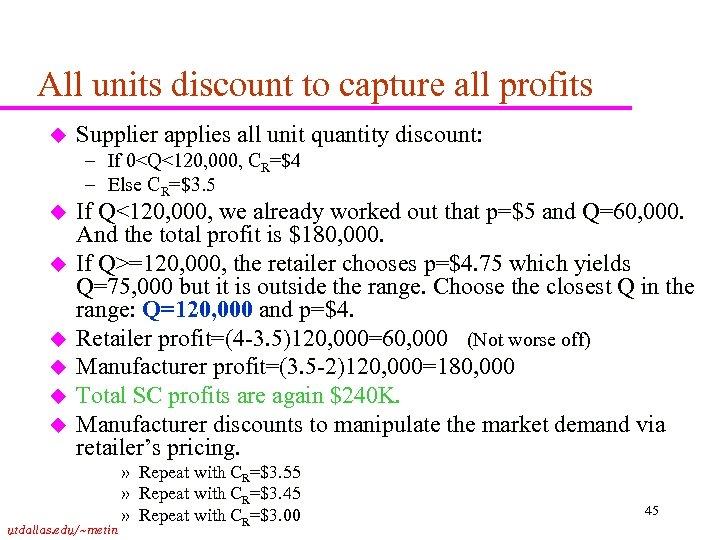 All units discount to capture all profits u Supplier applies all unit quantity discount: