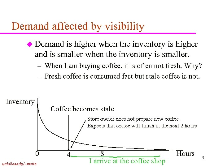 Demand affected by visibility u Demand is higher when the inventory is higher and