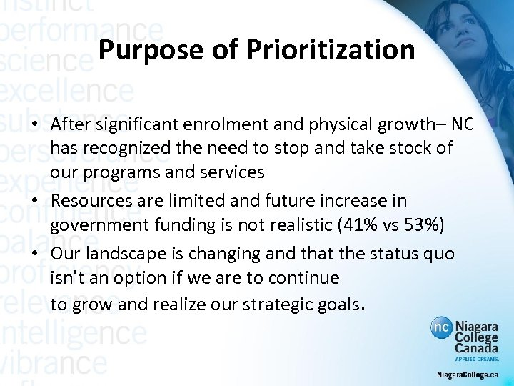 Purpose of Prioritization • After significant enrolment and physical growth– NC has recognized the