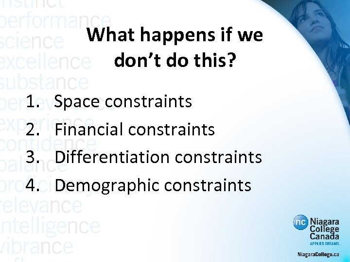 What happens if we don't do this? 1. 2. 3. 4. Space constraints Financial