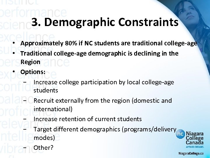 3. Demographic Constraints • Approximately 80% if NC students are traditional college-age • Traditional