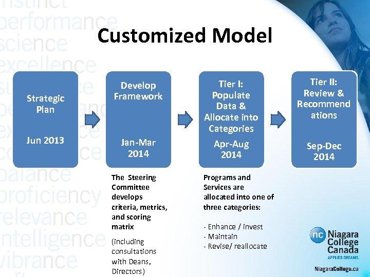 Customized Model Strategic Plan Jun 2013 Develop Framework Jan-Mar 2014 The Steering Committee develops
