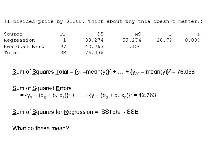 (I divided price by $1000. Think about why this doesn't matter. ) Source Regression