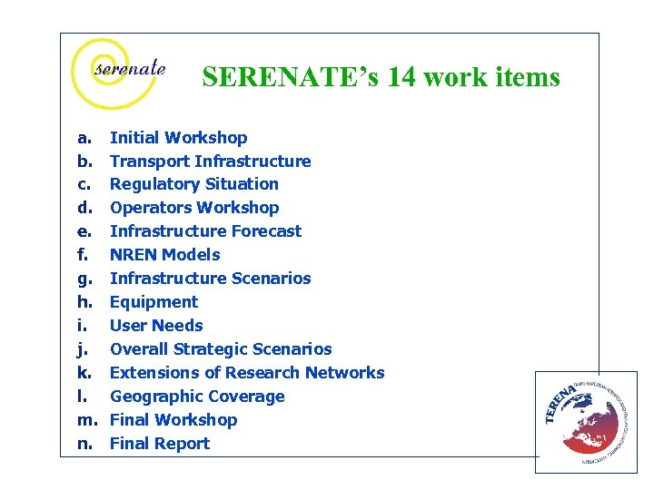 SERENATE's 14 work items a. b. c. d. e. f. g. h. i. j.