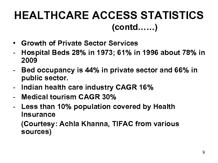 HEALTHCARE ACCESS STATISTICS (contd……) • Growth of Private Sector Services - Hospital Beds 28%