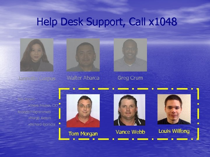 Help Desk Support, Call x 1048 Jannette Corpus Walter Abarca Greg Crum Tom Morgan