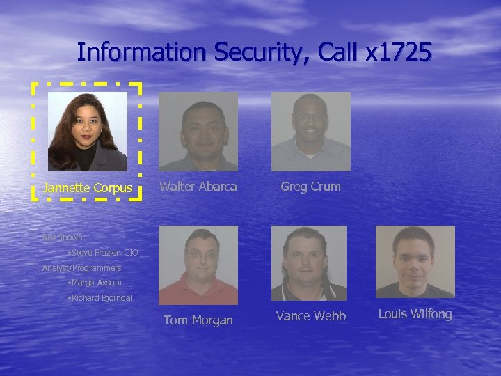 Information Security, Call x 1725 Jannette Corpus Walter Abarca Greg Crum Tom Morgan Vance