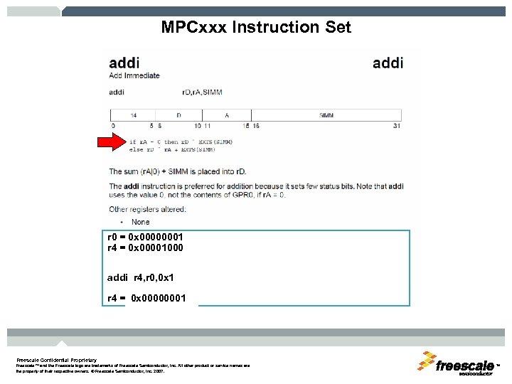 MPCxxx Instruction Set r 0 = 0 x 00000001 r 4 = 0 x