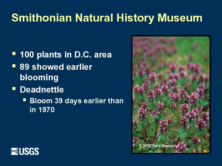 Smithonian Natural History Museum § § § 100 plants in D. C. area 89