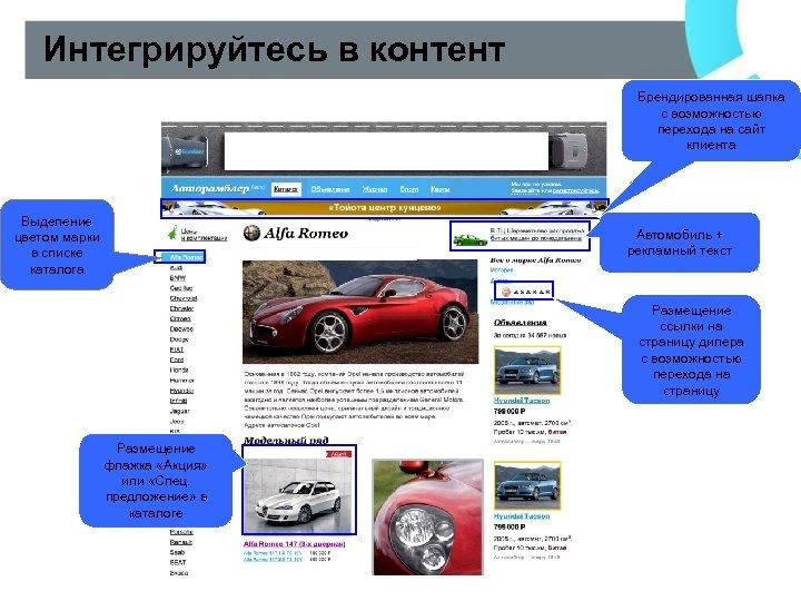 Интегрируйтесь в контент Брендированная шапка с возможностью перехода на сайт клиента Выделение цветом марки