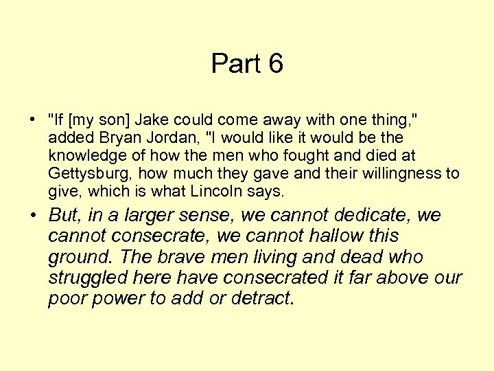 Part 6 •