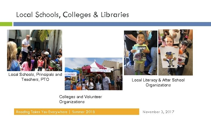 Local Schools, Colleges & Libraries Local Schools, Principals and Teachers, PTO Local Literacy &