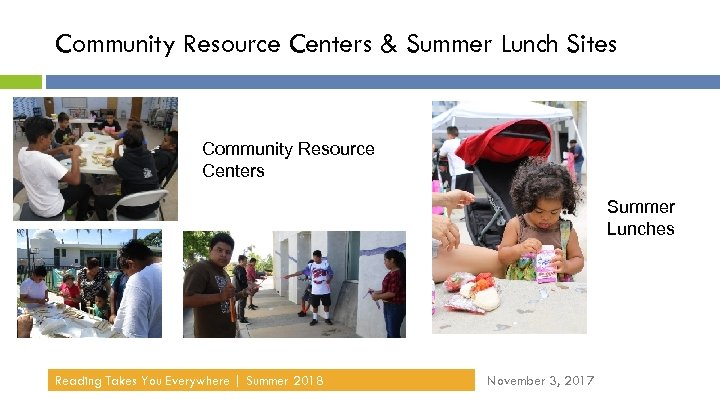 Community Resource Centers & Summer Lunch Sites Community Resource Centers Summer Lunches Reading Takes